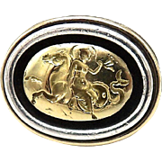Potter & Mellen Sterling Silver and 14kt Gold Hippocampus Intaglio Ring