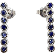 Vintage 14kt White Gold and Natural Sapphire Earrings