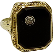 Art Deco Onyx & Diamond 14KT Gold Ring