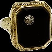 Art Deco Onyx & Diamond 14KT Gold Ring