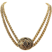 Victorian 15kt Gold and Enamel Chain Necklace