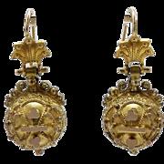 Etruscan Revival 14kt Gold Spherical Earrings