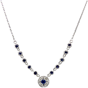 14kt White Gold, Diamond and Sapphire Necklace