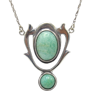 Arts & Crafts Sterling Silver Chrysoprase Necklace