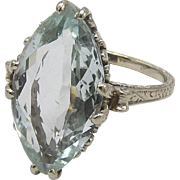 Art Deco 14KT Gold Aquamarine Ring