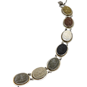19th C. Grand Tour Sterling Silver Lava Cameo Bracelet