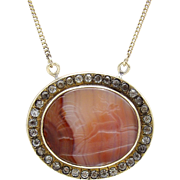 Victorian Banded Agate Intaglio 10KT Gold Necklace