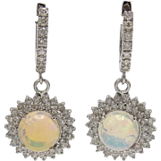 14KT White Gold, Opal and Diamond Earrings