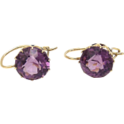 Georgian 14KT Gold Violet Paste Earrings