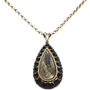 Early Victorian 12kt Gold Teardrop Hair Pendant
