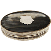 19th Century Scottish Horn Oval Box with Silver Emblem