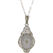 Edwardian 14kt White Gold, Camphor Glass, and Diamond Necklace