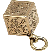 10K Gold Victorian Bright Cut Floral Cube Charm