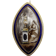 12K Gold Georgian Sepia Navette Mourning Brooch