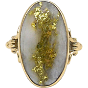 Gold Rush Era 14kt Gold and Gold-In-Quartz Ring