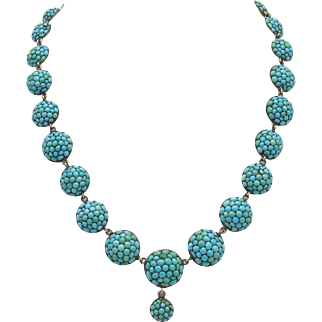 Egyptian Revival Pave Turquoise Necklace with Cabachons