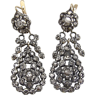 Georgian Day-Night Diamond Earrings silver front gold back