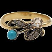 Romantic Victorian Era, 18K Turquoise and Diamond Bypass Ring