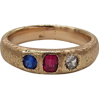 Diamond, Sapphire and Ruby 15KT Gold Victorian Gypsy Ring