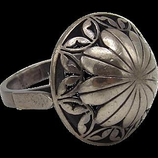 Vintage Sterling Silver Polish Flower Ring