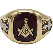 10K Gold Freemason Symbol & Ruby Ring