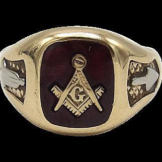 10K Gold Freemason Symbol & Ruby Ring
