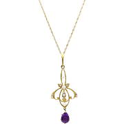 Edwardian 14kt Gold, Pearl and Amethyst Lavalier Necklace