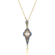 Edwardian 14kt Gold, Pearl and Blue Enamel Necklace