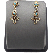 14kt Gold and Turquoise Cabochon Dangle Earrings, Circa 1910