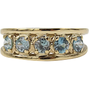 Vintage 14K Gold 5 Gemstone Blue Zircon Ring