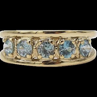 Vintage 14K Gold 5 Gemstone Blue Zircon Ring