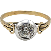 19th Century 15kt Gold and Silver Diamond Ring with Circular Details