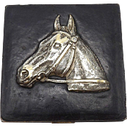 Vintage Black Leather and Silver Plated Horse Compact