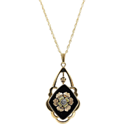 Victorian 14kt Gold, Diamond, and Onyx Mourning Necklace
