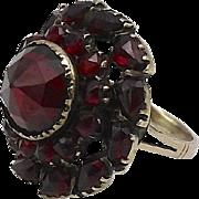 Victorian 10kt Bohemian Garnet Cluster Ring