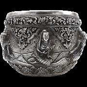 19th Century Burmese Silver Repoussé Bowl
