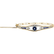 Edwardian 14kt Gold and Platinum Bracelet with Diamonds and Sapphires