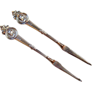 A Pair of Gorham Medallion Sterling Silver Nut Picks, 1864