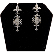 14kt White Gold and Diamond Fleur De Lis Earrings
