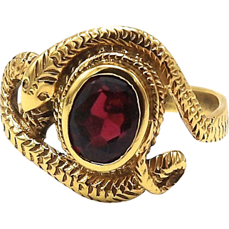 Victorian Gold Plated Brass and Garnet Snake Ring