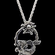 Sterling Silver Capricorn Pendant Necklace, Circa 1970