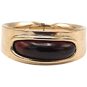 Georgian 10kt Rose Gold and Garnet Mourning Ring, Circa 1803