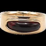 Georgian 10kt Rose Gold and Garnet Mourning Ring, Circa 1803