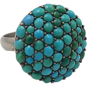 Victorian Sterling Silver and Pave Turquoise Cabochon Etruscan Revival Ring
