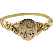 "14kt Gold ""P"" Signet Ring"