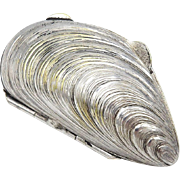 Vintage Silverplate Mussel Shell Pill Box