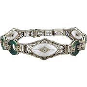14K White Gold Art Deco Filigree Bracelet with Diamonds, Crystals and Chrysoprase