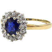 Edwardian 14kt Yellow and White Gold, Sapphire and Diamond Ring