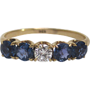 Vintage 14K Gold, Diamond and Sapphire Ring