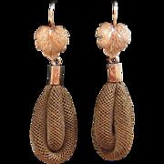 Victorian 10K Gold Maple Leaf & Woven Hair Earrings